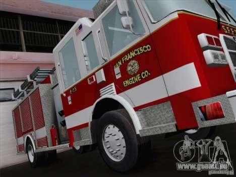 Pierce Pumpers. San Francisco Fire Departament für GTA San Andreas Rückansicht