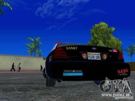 Ford Crown Victoria San Andreas State Patrol pour GTA San Andreas sur la vue arrière gauche