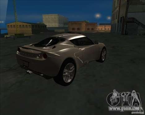 Lotus Evora pour GTA San Andreas laissé vue