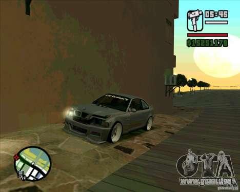 BMW E46 M3 Sport pour GTA San Andreas sur la vue arrière gauche