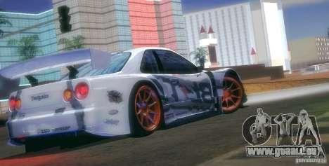 Nissan Skyline Touring R34 Blitz pour GTA San Andreas vue de dessus
