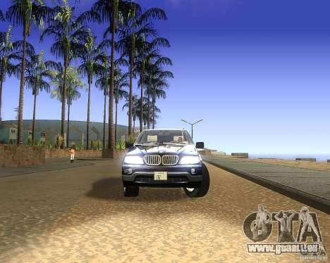 BMW X5 4.8 IS pour GTA San Andreas sur la vue arrière gauche