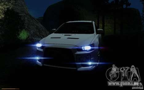 Mitsubishi Lancer Evolution X Tunable pour GTA San Andreas vue de dessous
