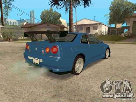 Nissan Skyline GT-R BNR34 Tunable pour GTA San Andreas vue intérieure