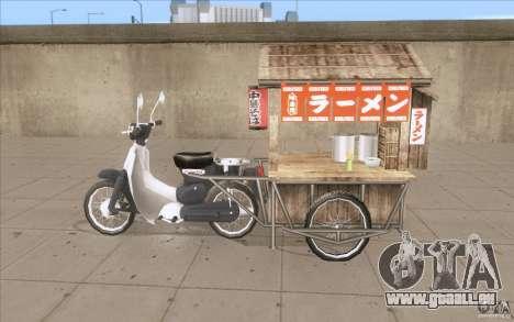 Honda Super Cub avec un chariot pour GTA San Andreas laissé vue