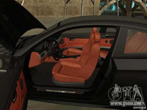 BMW M3 E92 Tunable pour GTA San Andreas vue arrière