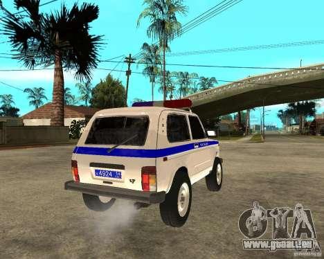 VAZ 2121 Police pour GTA San Andreas sur la vue arrière gauche