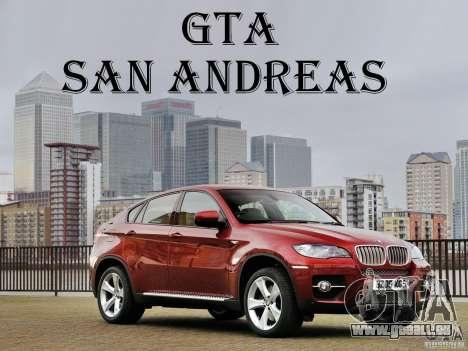 Écrans de chargement BMW X 6 pour GTA San Andreas