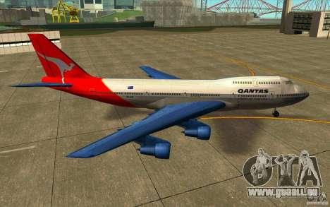 Boeing Qantas 747-400 für GTA San Andreas linke Ansicht
