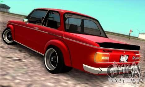 BMW 2002 Turbo pour GTA San Andreas vue arrière