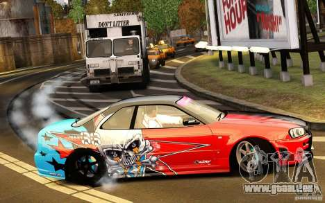 Nissan Skyline R34 Evil Empire für GTA 4 Rückansicht