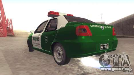 Fiat Siena Carabineros De Chile pour GTA San Andreas vue de droite