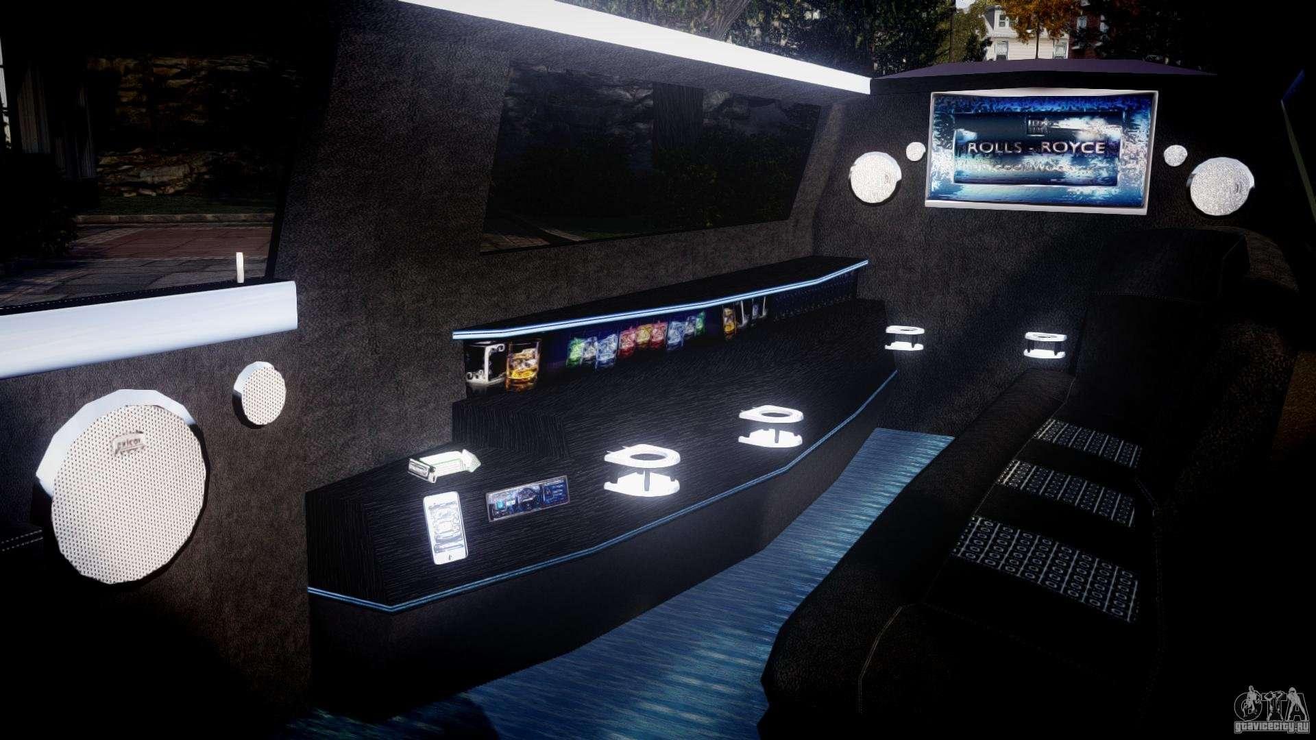 Rolls royce phantom sapphire limousine disco pour gta 4 for Inside l interieur