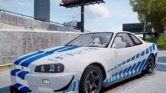 Nissan Skyline GT-R R34 2F2F pour GTA 4