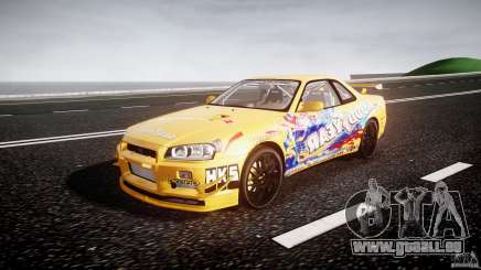 Nissan Skyline R34 GT-R Tezuka Goodyear D1 Drift für GTA 4