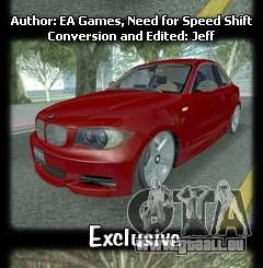 BMW 135i Coupe Stock pour GTA San Andreas