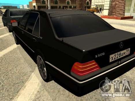 Mercedes-Benz w140 s600 pour GTA San Andreas vue arrière
