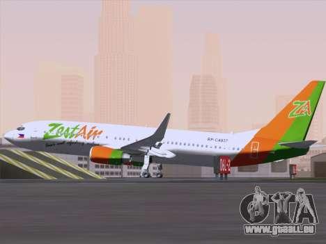 Boeing 737-800 Zest Air für GTA San Andreas Rückansicht