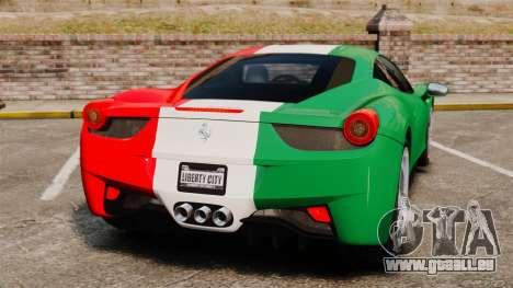 Ferrari 458 Italia 2010 Italian pour GTA 4 Vue arrière de la gauche