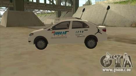 Toyota Vios AIR JORDAN TAXI of Cagayan De Oro pour GTA San Andreas laissé vue