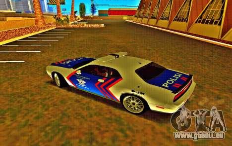 Dodge Challenger Indonesian Police pour GTA San Andreas sur la vue arrière gauche