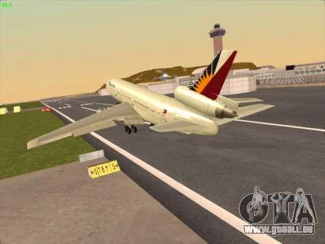 McDonell Douglas DC-10 Philippines Airlines pour GTA San Andreas sur la vue arrière gauche