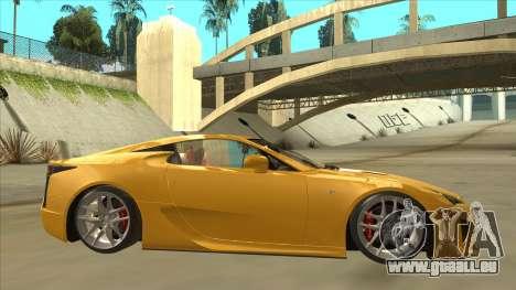 Lexus LFA Autovista 2010 pour GTA San Andreas sur la vue arrière gauche