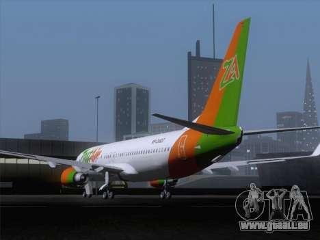 Boeing 737-800 Zest Air pour GTA San Andreas sur la vue arrière gauche