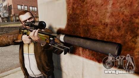 Fusil de sniper AW L115A1 avec un v8 de silencie pour GTA 4 troisième écran