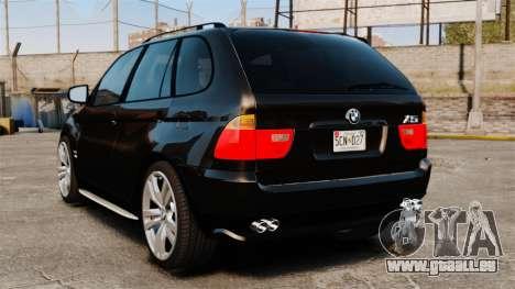 BMW X5 4.8iS v1 pour GTA 4 Vue arrière de la gauche