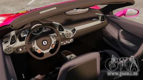 Ferrari 458 Spider Pink Pistol 027 Gumball 3000 für GTA 4 Innenansicht