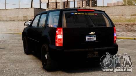 Chevrolet Tahoe 2008 Unmarked ELS für GTA 4 hinten links Ansicht