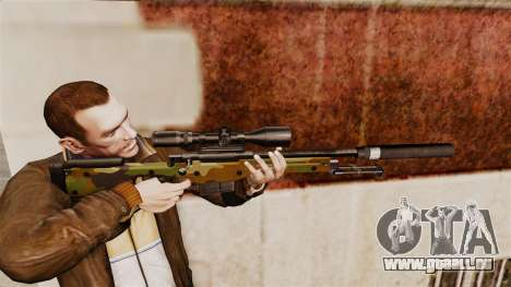 Fusil de sniper AW L115A1 avec un v8 de silencie pour GTA 4
