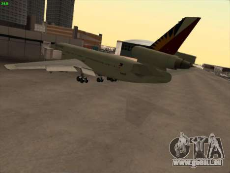 McDonell Douglas DC-10 Philippines Airlines für GTA San Andreas Rückansicht