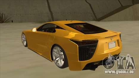 Lexus LFA Autovista 2010 pour GTA San Andreas vue arrière