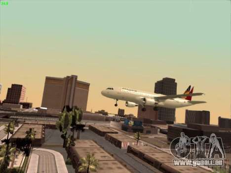 Airbus A320-211 Philippines Airlines pour GTA San Andreas vue de dessus