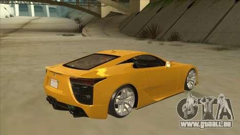 Lexus LFA Autovista 2010 pour GTA San Andreas vue de droite