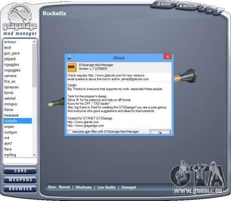 GTA Garage Mod Manager version 1.7 (270805) pour GTA San Andreas troisième écran