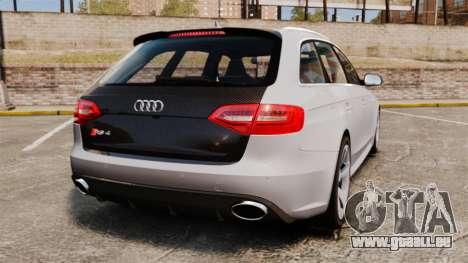 Audi RS4 Avant 2013 Sport v2.0 pour GTA 4 Vue arrière de la gauche