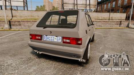 Volkswagen Citi Golf Velociti 2008 pour GTA 4 Vue arrière de la gauche