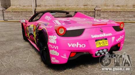 Ferrari 458 Spider Pink Pistol 027 Gumball 3000 pour GTA 4 Vue arrière de la gauche