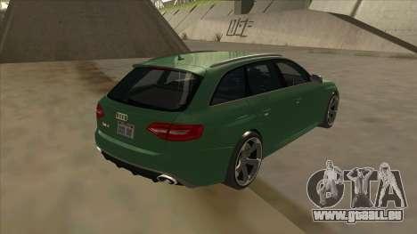 Audi RS4 Avant B8 2013 V2.0 pour GTA San Andreas sur la vue arrière gauche