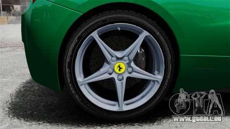 Ferrari 458 Italia 2010 Italian pour GTA 4 Vue arrière