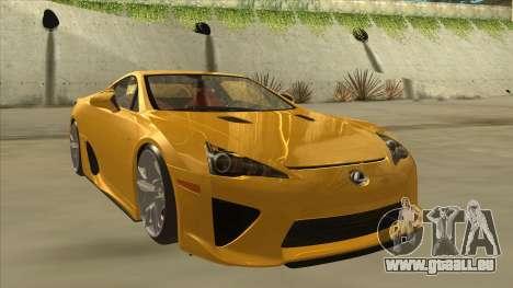 Lexus LFA Autovista 2010 pour GTA San Andreas laissé vue