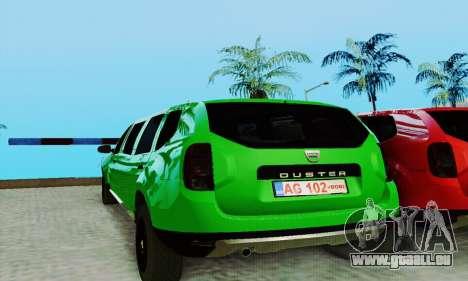 Dacia Duster Limo pour GTA San Andreas laissé vue