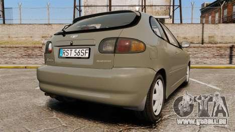 Daewoo Lanos FL 2001 pour GTA 4 Vue arrière de la gauche