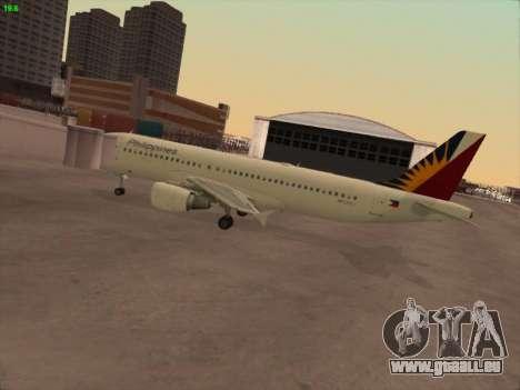 Airbus A320-211 Philippines Airlines pour GTA San Andreas sur la vue arrière gauche