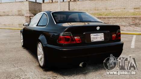 BMW M3 Coupe E46 pour GTA 4 Vue arrière de la gauche