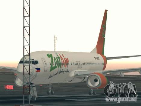 Boeing 737-800 Zest Air für GTA San Andreas obere Ansicht