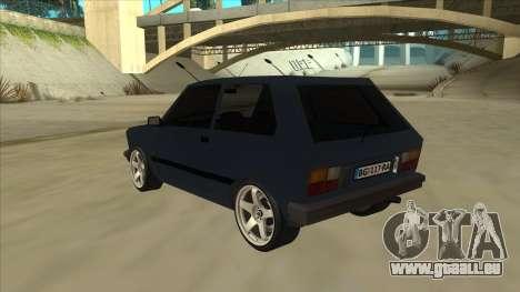 Zastava Yugo 1.1 pour GTA San Andreas vue arrière